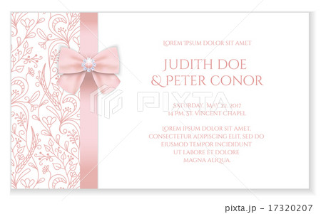 Romantic wedding announcement with pink ornament