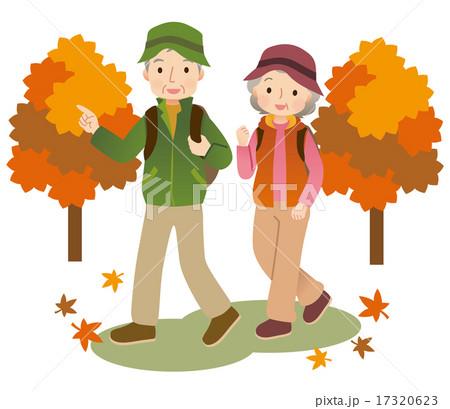 ハイキングする高齢者 秋 紅葉のイラスト素材 [17320623] , PIXTA