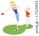 ゴルフをする男女 17320903