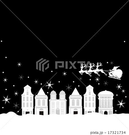 クリスマスchristmas街並みモノトーン街並み雪景色のイラスト