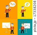Set of cute cartoon young businessmen. Idea concept and finance report graph 17338208