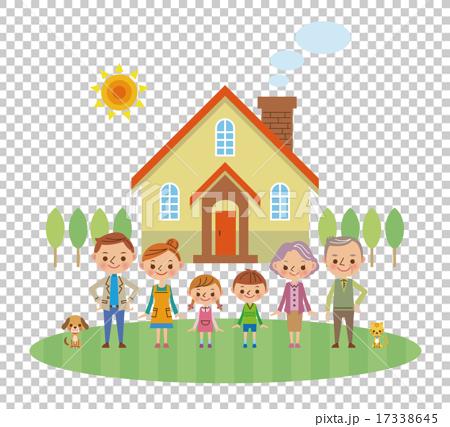 マイホームの前に立つ三世代家族 17338645