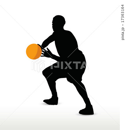 basketball player silhouette in hold pose 17363164