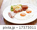 breakfast meal with ham sausage bacon egg salad 17373011