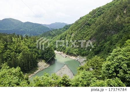 只見川 中州の風景 17374784
