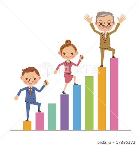 棒グラフを登る3人のビジネスマン 17385272