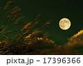 満月とすすきの穂 17396366