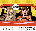 stop woman driver driving school panic calm 17407726