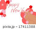 Happy new year と 猿 と 梅 17411388
