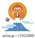 2106年賀状素材:猿と初日の出(オレンジ) 17422866