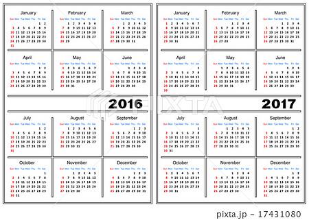calendar template 2016 2017のイラスト素材 17431080 pixta