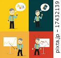 Set of cute cartoon young businessmen. Idea concept and finance report graph 17432139