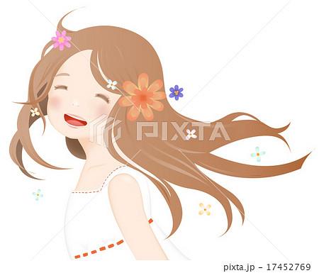 笑顔がかわいい女の子と花のイラスト素材 17452769 Pixta