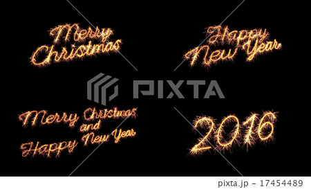 sparkler text merry christmas new year greeting 17454489