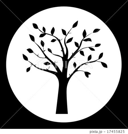 Black and white illustration of tree silhouetteのイラスト素材 [17455825] - PIXTA