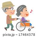 老老介護 車椅子 高齢者 イラスト 17464378