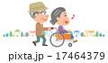 老老介護 車椅子 高齢者 町並 イラスト 17464379