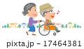 老老介護 車椅子 高齢者 町並 イラスト 17464381