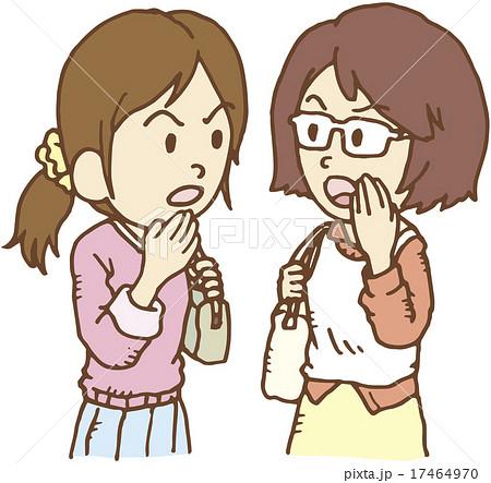 井戸端会議をする女性二人のイラ...