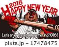 2016年賀状_野球猿 17478475