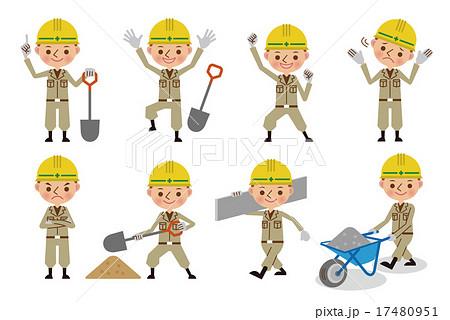 工事現場で働く土木作業員ポーズセット8種のイラスト素材 17480951