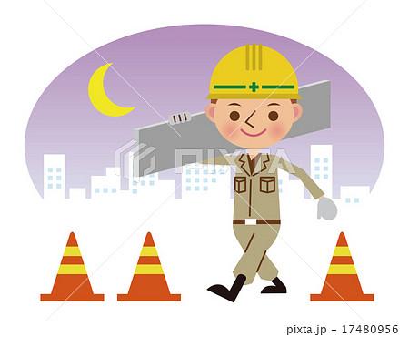 建材を運ぶ土木作業員(夜間背景) 17480956