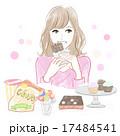 ジャンクフードを食べる女性 17484541
