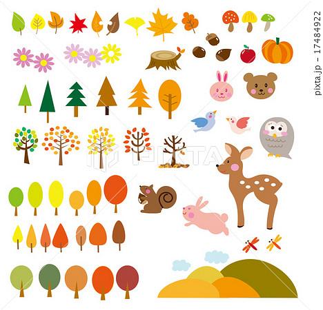 秋 動物 森 素材 セット Autumn Elementsのイラスト素材 17484922 Pixta
