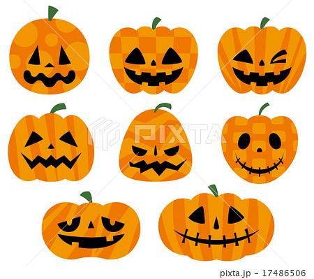 ハロウィンかぼちゃセットカラーのイラスト素材 17486506 Pixta
