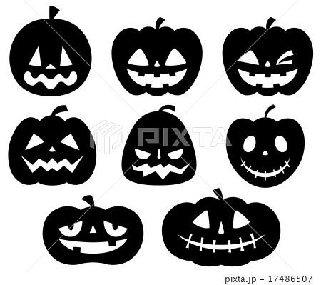 ハロウィンかぼちゃセット黒1色のイラスト素材 17486507 Pixta