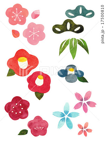 お正月素材 草花のイラスト素材 17500810 Pixta