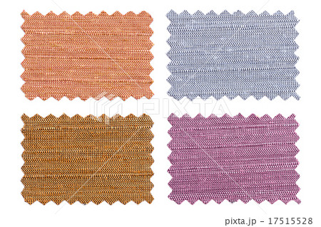 Set of sample pieces color fabric isolated on whiteの写真素材 [17515528] - PIXTA