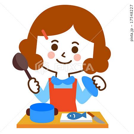 かわいいエプロンの女性料理のイラスト素材 17548227 Pixta