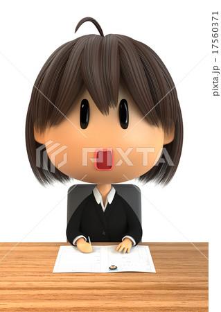 履歴書を書くリクルートスーツの女子 17560371