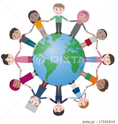 地球と世界の人々のイラスト素材 17563634 Pixta