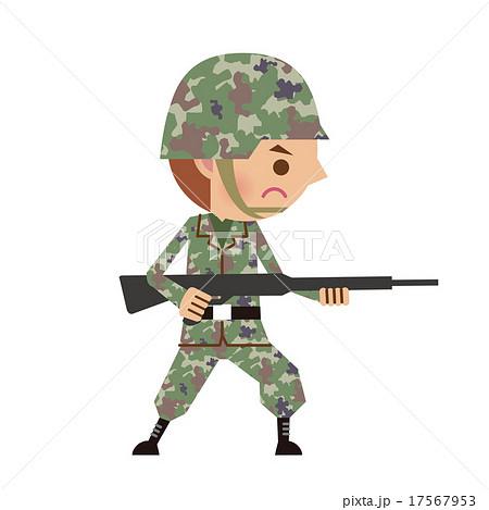 銃を構える自衛官軍人のイラスト素材 17567953 Pixta