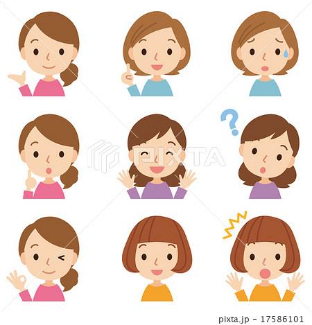 女性 上半身アイコン 表情セット 17586101