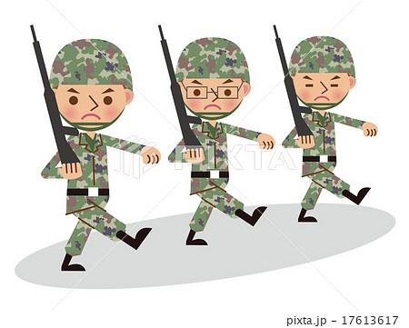 銃を担いで行進する自衛官軍人複数人3人のイラスト素材