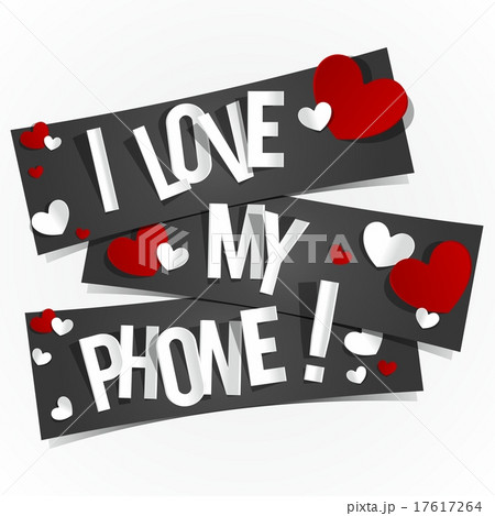 creative i love my phone bannersのイラスト素材 17617264 pixta