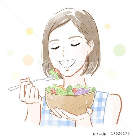 サラダを食べる女性 17626179