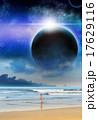 Girl Beach Planet Matte-Painting Sci-fi Illustration 17629116