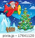 クリスマス ひこうき 飛行機のイラスト 17641120
