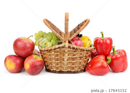 vegetables and fruits in basketの写真素材 [17643152] - PIXTA