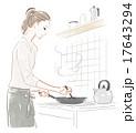 料理する女性 17643294