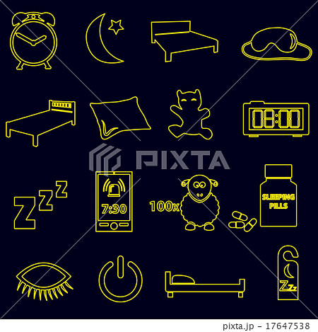 sleeping time simple outline icons set eps10のイラスト素材 [17647538] - PIXTA
