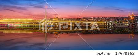 Ataturk bridge, metro bridge at night Istanbul
