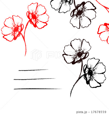 Card with black and red hand-drawn flowersのイラスト素材 [17678559] - PIXTA