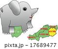 地図の動物 岡山 子象 17689477