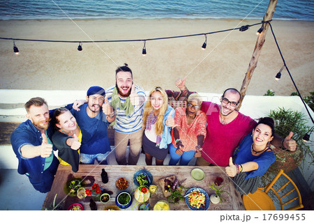 Diverse Beach Summer Friends Holding Together Concept