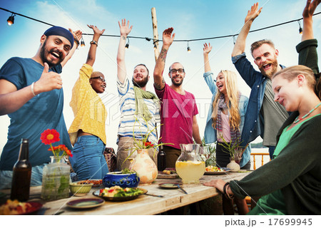 Party Dinner Friendship Happiness Summer Concept